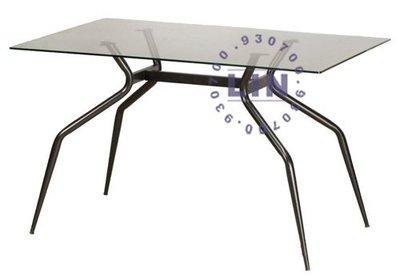 【品特優家具倉儲】P845-19-1餐桌洽談桌玻璃桌歐風烤黑腳玻璃餐桌2*3.5尺