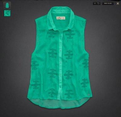 美國 Abercrombie & Fitch【 Hollister 】蕾絲 雪紡紗刺繡 襯衫式背心 湖水綠《現貨》GILLY HICKS