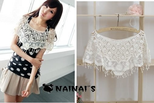 【NAINAIS】Style‧9665 韓版百搭海灘裙必備 鏤空鉤花蕾絲勾花流蘇披肩罩衫  特價250
