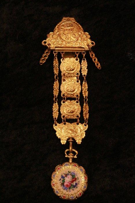 【家與收藏】特價極品稀有珍藏歐洲百年古董19世紀法國博物館級精緻華麗手繪琺瑯瓷畫18K金古董懷錶/鎏金鍊錶