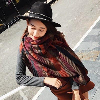圍巾 仿羊絨 披肩-拼色條紋時尚保暖女配件3色73ub42[獨家進口][米蘭精品]