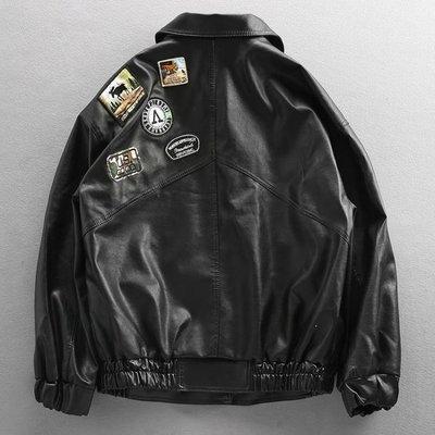 ZIHOPE 歐美街頭潮流寬鬆加絨機車服皮衣男情侶飛行員空軍裝皮夾克外套潮ZI812