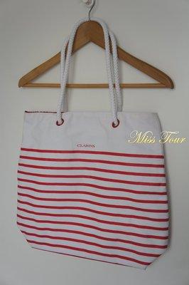 MISS TOUR~全新真品.正品CLARINS紅白條紋肩背包,JEANASIS.MOUSSY.LOWRYS FARM