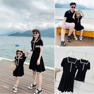 JMW集美屋韓國專櫃團購2019新款夏裝網紅親子裝時尚短袖T恤裙一家三口母子母女裝連