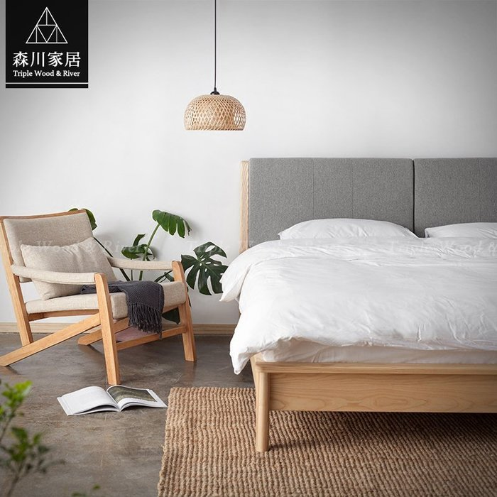 《森川家居》NBB-01BB04-北歐簡約原木梣木五呎雙人床架 餐廳咖啡廳民宿餐椅收納/美式設計LOFT/IKEA品東西