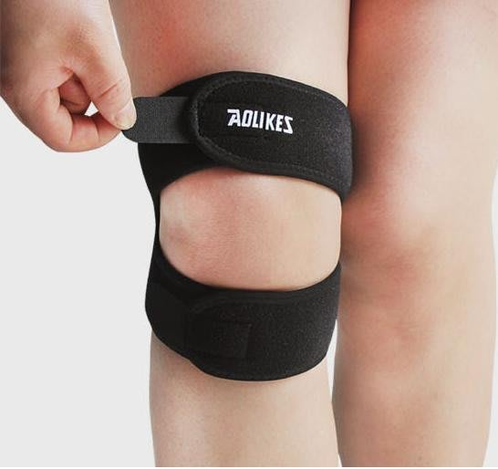 透氣足球籃球跑步登山加壓護膝加壓帶運動護膝(單支入)