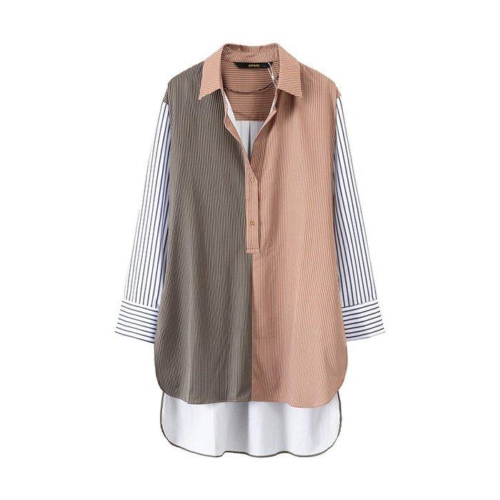 長版襯衫正韓版外貿原單女裝時尚條紋撞色拼接開叉中長款寬松長袖襯衫133609-30