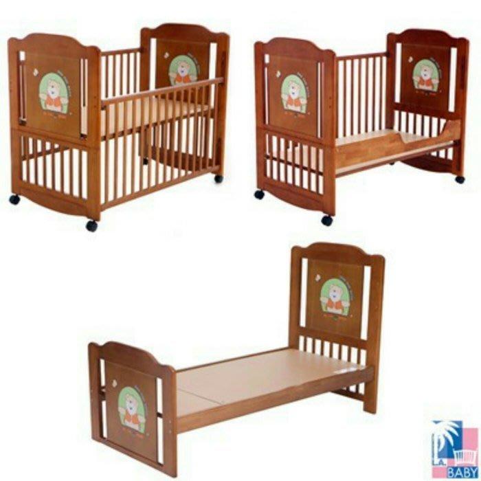 娃娃屋~~~【美國 L.A. Baby】布魯克林三階段嬰兒木床/成長大床/童床-咖啡色(0歲-10歲幼童皆適用)