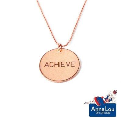 Anna Lou OF LONDON 台北ShopSmart直營店 倫敦品牌 優雅字墜 玫瑰金項鍊 Achieve