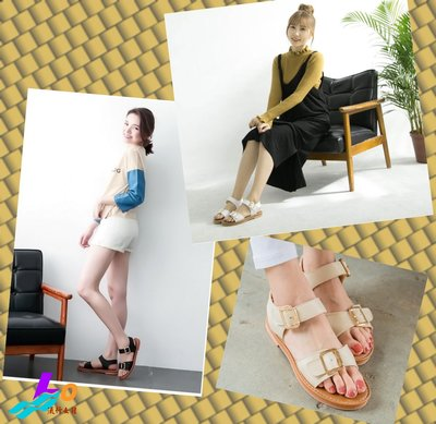 Lo流行女鞋 ~☆簡單穿搭就耀眼::☆~~~MIT 舒適夾心軟底 一字皮帶釦魔鬼氈涼鞋