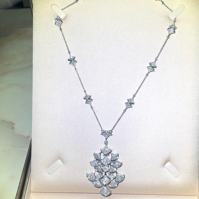 大款豪華扇形天然鑽石項鍊