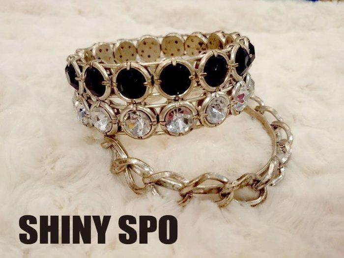 SHiNY SPO 日本品牌 Lagunamoon 個性街頭金色上黑白寶石綴飾+金鎖鍊環組合手環 特價