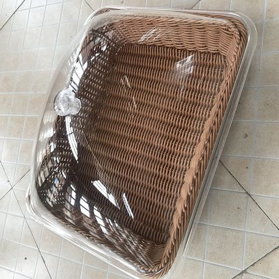 自助餐展示盤仿藤編水果籃蛋糕點心托盤面包籃帶蓋試吃盤防塵透明
