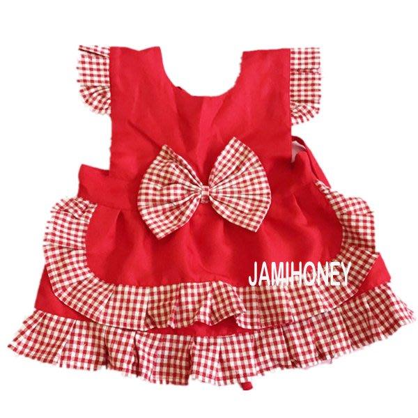 紅色格子公主 兒童圍裙【JI2391】《Jami Honey》
