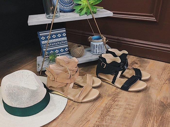 AURA[羅馬好好玩。後包楔型羊皮羅馬涼鞋]-度假奶茶杏/海島礁岩黑 (21.5~25.5)大小尺碼