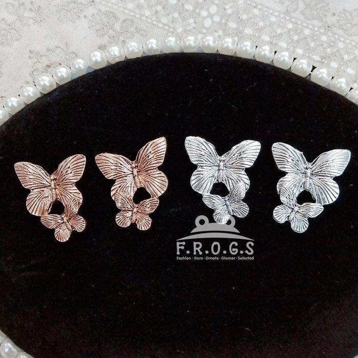 F.R.O.G.S A010374歐美INS款金屬雙蝴蝶爆款造型耳環耳針耳釘耳釦耳勾耳飾耳掛飾品(現+預)