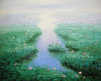 【飲冰室山居閑畫】☆ 純手工油畫—在水一方 3
