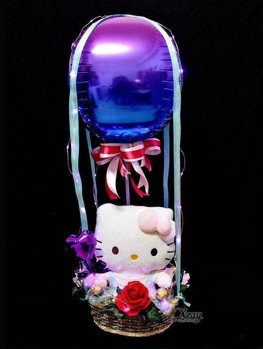 X射線【Y526905】Hello Kitty學習娃娃,Sanrio/捧花/情人節禮物/熱氣球/金莎花束/亮燈花束/告白