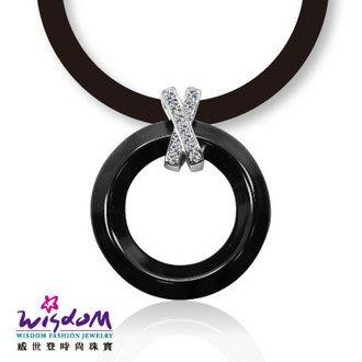 威世登 圓形黑陶瓷鋯石925銀墬-送禮、情人禮、生日禮、流行款、熱銷款-SD00113-AFEX