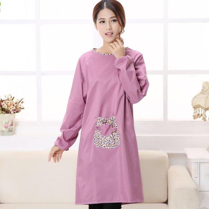 【berry_lin107營業中】家居圍裙韓版圍裙防水時尚長袖圍裙成人罩衣