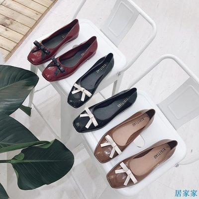 居家家  韓版春夏時尚新款女鞋蝴蝶結豆豆淺口方頭低跟平底單鞋果凍鞋