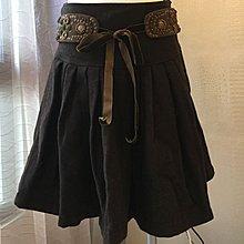 《寶兒花園》咖啡色民族風圖騰串珠綁帶毛料及膝圓裙