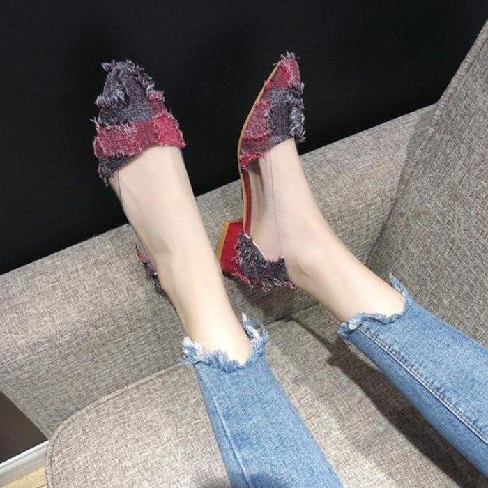 低跟鞋尖頭單鞋女春秋季新款粗跟時尚百搭韓版低跟平底矮跟淺口女鞋 『古月醬子館』