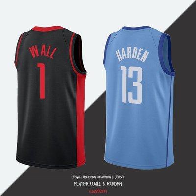 正品球衣~訂製1號沃爾球衣新款藍色城市版13號哈登patch廣告歐美街頭籃球服