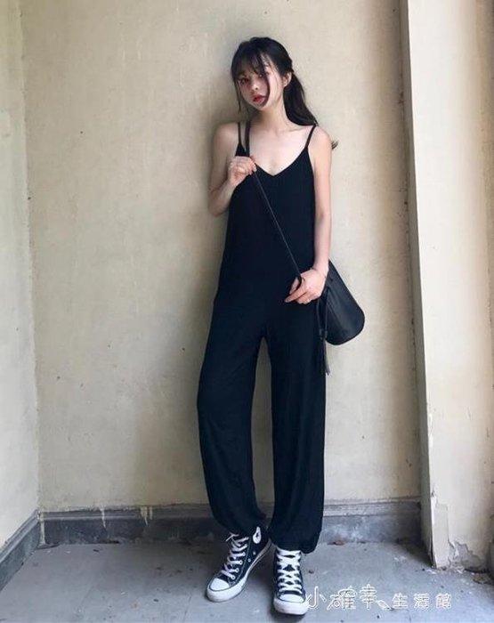 撲啦啦韓風V領寬鬆吊帶連體褲女夏季簡約休閒燈籠褲顯瘦長褲
