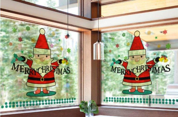 小妮子的家@靜電無膠全透明玻璃貼膜~/辦公室防撞貼膜~透明聖誕老人/i