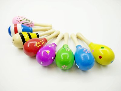 【老羊樂器店】原木彩繪沙鈴 木頭沙鈴 手搖鈴 木製沙錘 聲響玩具 幼兒律動 約10CM