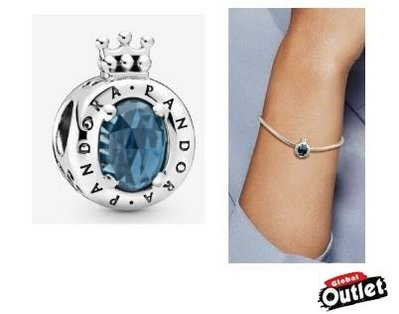 【全球購.COM】PANDORA 潘朵拉 鑲鑽新款藍色璀璨 O 字形皇冠串珠 925純銀 美國正品代購