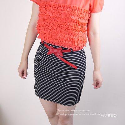 正韓 韓國連線 細條紋 合身窄裙 短裙(黑、天藍色)~桔子瑪琪朵