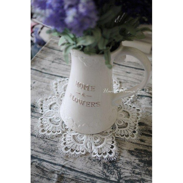 桌墊 蕾絲墊 B款 - 30cm 圓形 白色 蕾絲 造型 鄉村風 藍色 米色 花朵 咖啡色 花瓶 墊子 鏤空 縷空 婚禮