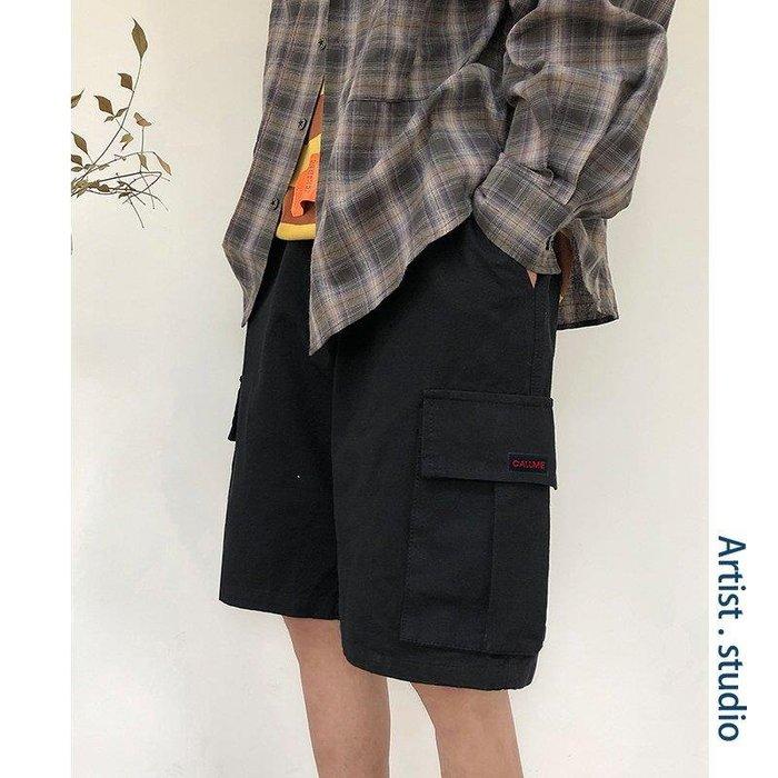 ZIHOPE 短褲 休閒短褲 牛仔短褲 黑色褲子男士短褲五分褲夏季韓版潮流港風寬松5分褲男ZI812