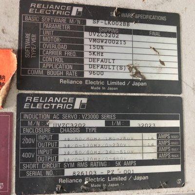 RELIANCE ELECTRIC AC SERVO DRIVE,UVZC3202伺服驅動控制器停產品中古現貨銷售維修