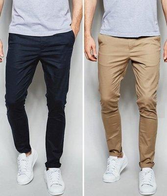 ◎美國代買◎ASOS歐版顯廋剪裁反摺褲口九分休閒長褲藍與沙石色~二件一起賣~歐美街風~大尺碼