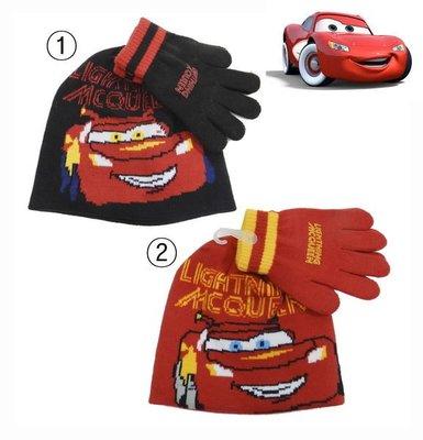 出口歐洲CARS閃電麥坤手套雙拼色款無棉絮毛線帽+手套組(4~8歲適用)新款上市