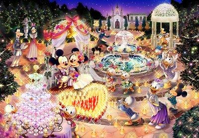 日本正版拼圖 迪士尼 米奇米妮 夢幻豪華婚禮 1000片夜光拼圖 1000-457