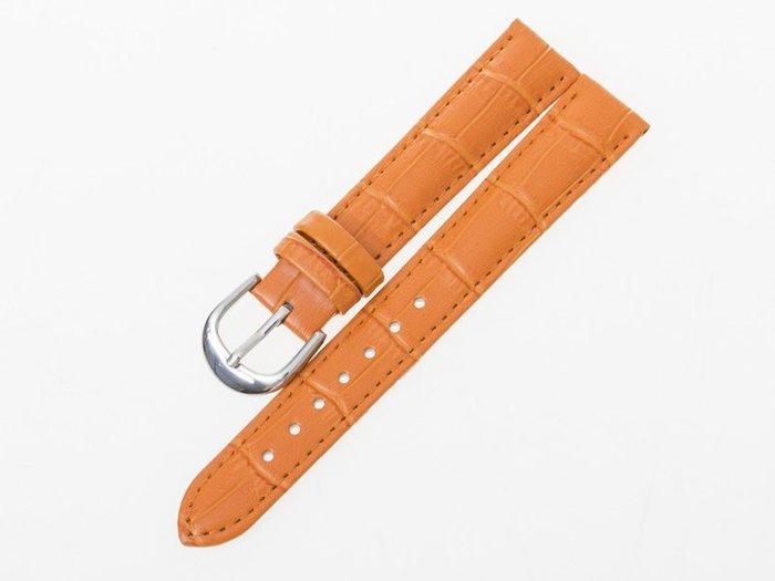 小牛皮鱷魚紋錶帶 真皮手錶錶帶 – 橙 - 多尺寸可選