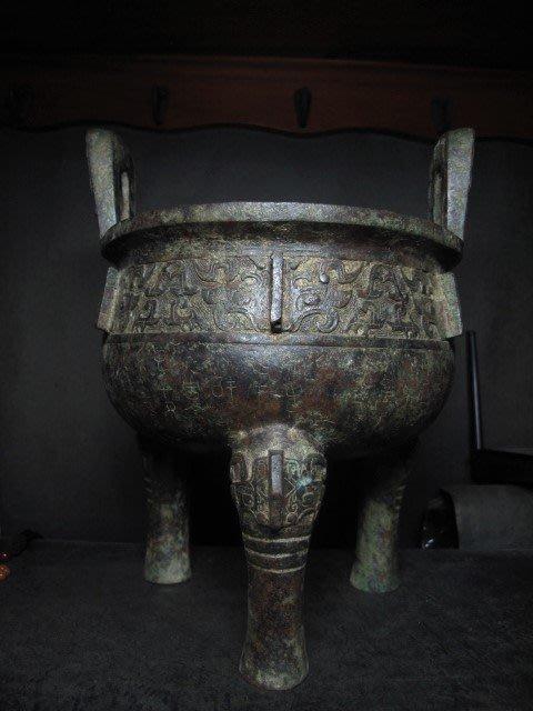 老銅雕◎ 青銅器 圖騰銘文 青銅 三足鼎