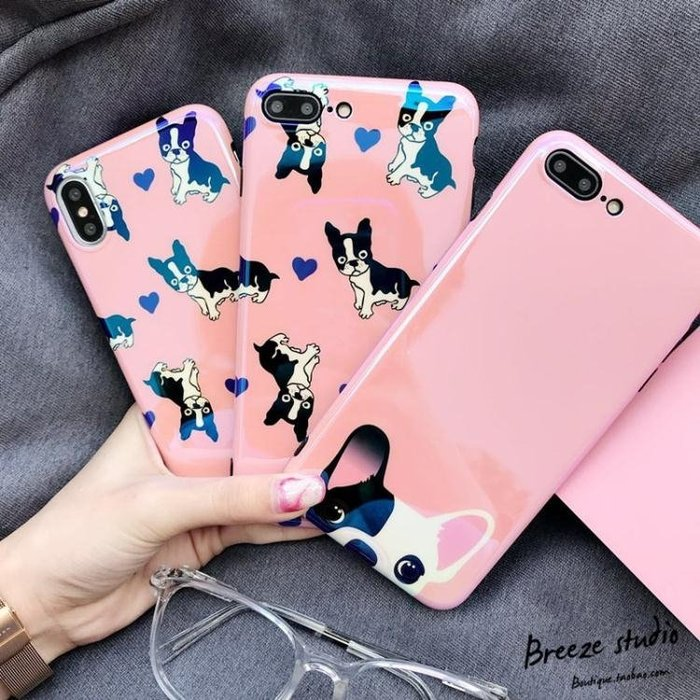 可愛少女粉狗狗 蘋果7手機殼iPhone8plus藍光軟殼6s亮面全包邊潮禮物
