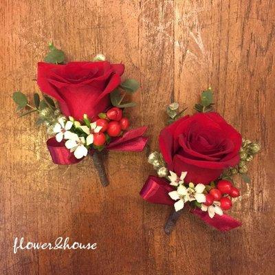 【Flower&House花藝之家】H00。紅玫瑰胸花。新娘新郎胸花。紅玫瑰胸花。台北西門花店。自取價