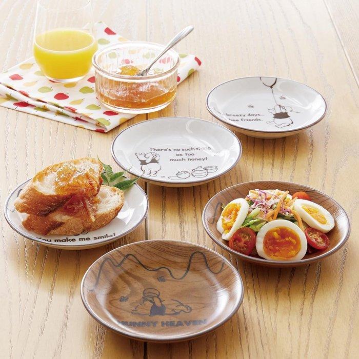 迪士尼Disney《預購》小熊維尼 木紋陶瓷餐盤 點心盤 5入一組~可微波~日本製~心心小舖