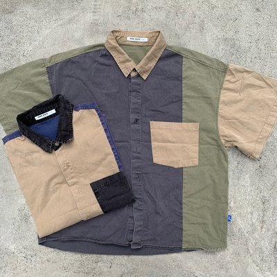 【inSAne】韓國購入 / 拼接 / 襯衫 / 單一尺寸 / 卡其 & 藍色