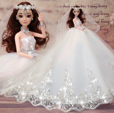 『格倫雅品』換裝芭芘比娃娃套裝大禮盒婚紗公主女孩兒童衣服洋娃娃玩具禮物3D