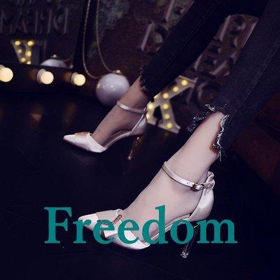 Freedom女鞋高跟鞋女禮服款綢緞面...