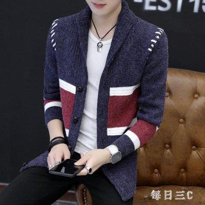 針織外套男士秋季新款韓版潮流個性修身外套開衫針織衫v領線衣 zm11981