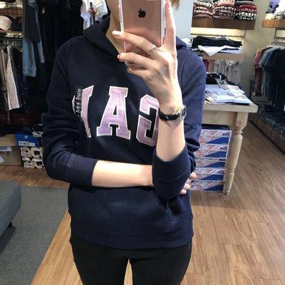 【蟹老闆】GAP 青年版帽T 深藍色紫字 馬卡龍色系