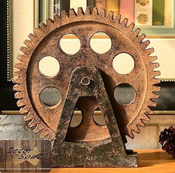 DS北歐家飾§ loft工業風 仿鏽齒輪擺件裝飾擺飾裝潢羅馬歐洲美式鄉村設計航海復古仿舊